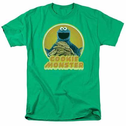 Sesame Street Cookie Iron On Green T-Shirt