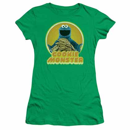 Sesame Street Cookie Iron On Green Juniors T-Shirt