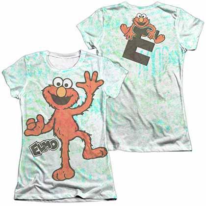 Sesame Street Elmo Scribble  White 2-Sided Juniors Sublimation T-Shirt