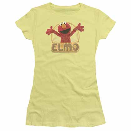Sesame Street Elmo Iron On Yellow Juniors T-Shirt