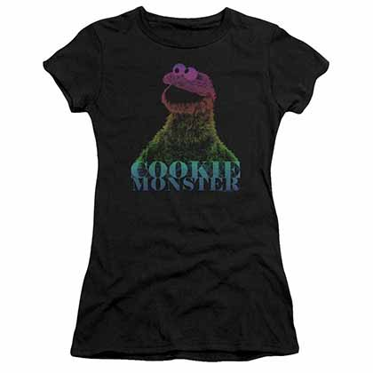 Sesame Street Cm Halftone Black Juniors T-Shirt