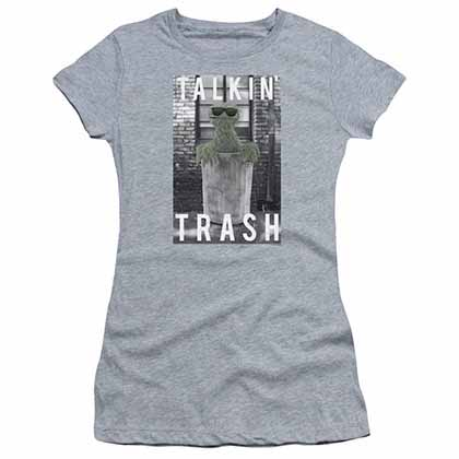 Sesame Street Talkin Trash Gray Juniors T-Shirt
