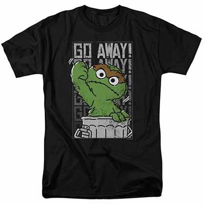 Sesame Street Go Away Black T-Shirt