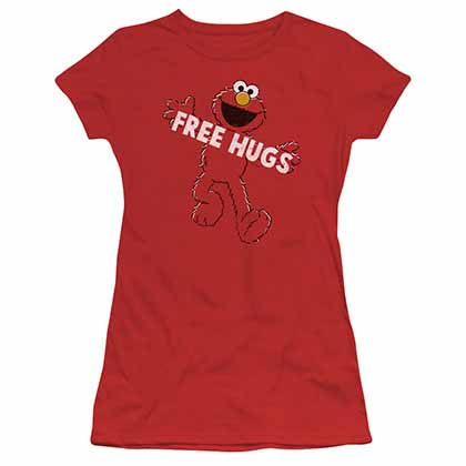 Sesame Street Free Hugs Red Juniors T-Shirt