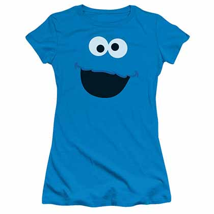 Sesame Street Cookie Monster Face Blue Juniors T-Shirt