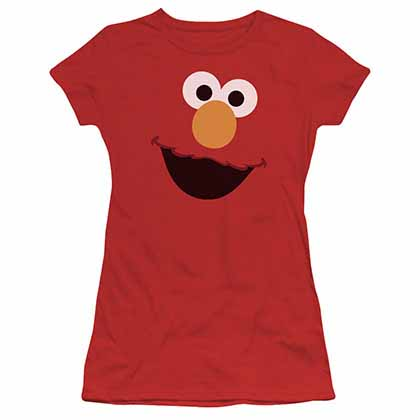 Sesame Street Elmo Face Red Juniors T-Shirt