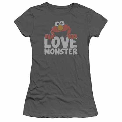 Sesame Street Love Monster Gray Juniors T-Shirt