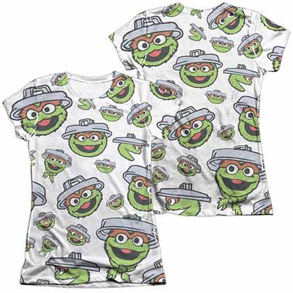 Sesame Street Oscar Face Pattern  White 2-Sided Juniors Sublimation T-Shirt