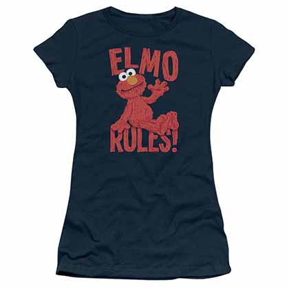 Sesame Street Elmo Rules Blue Juniors T-Shirt
