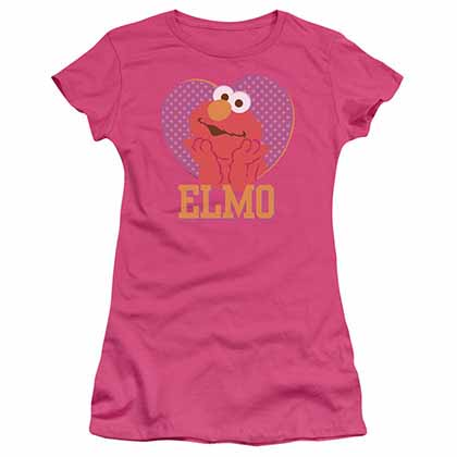 Sesame Street Patterned Elmo Heart Pink Juniors T-Shirt