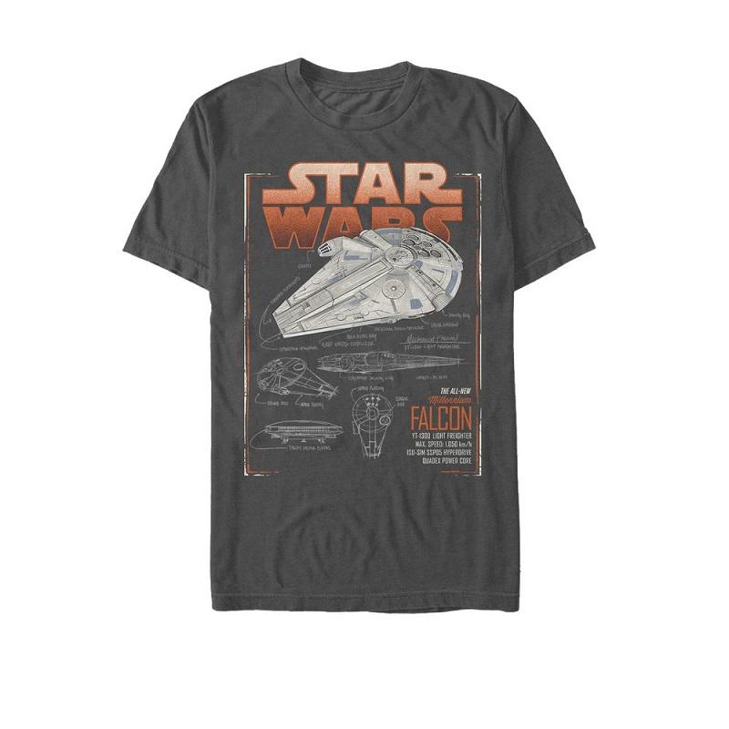 Star Wars Han Solo Story All New Millennium Falcon Schematics Tshirt