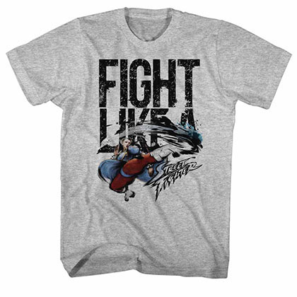 Street Fighter Fight Like A Gray Tee Shirt