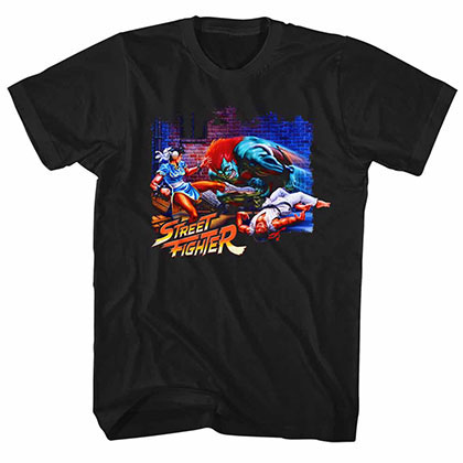 Street Fighter Alley Fight Black Tee Shirt
