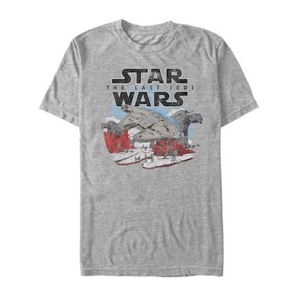 Star Wars Last Jedi Millennium Falcon Grey Tshirt