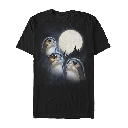 Star Wars Last Jedi Porgs Howling At The Moon Tshirt