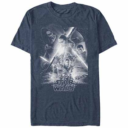Star Wars - Episode 7 Awakens Poster Blue T-Shirt
