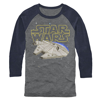 Star Wars Falcon Squared Pixel Raglan Long Sleeve T-Shirt