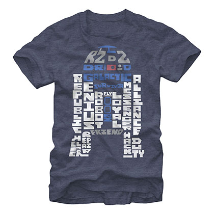 Star Wars Verbiage R2D2 Blue T-Shirt