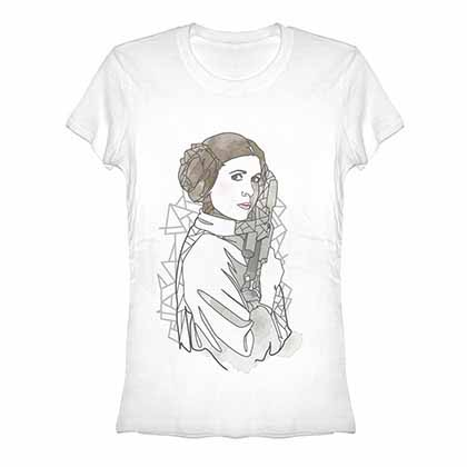 Star Wars Leia Outline White Juniors T-Shirt