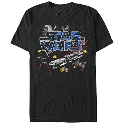 Star Wars Flight Of The Falcon Black T-Shirt