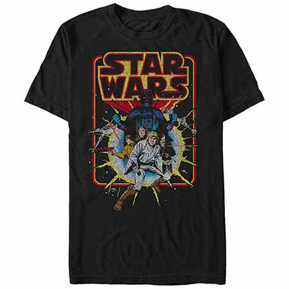Star Wars Old School Comic Black T-Shirt