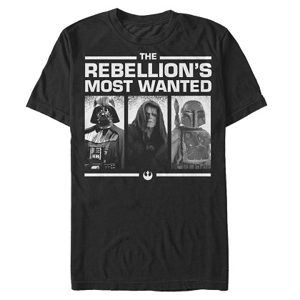Star Wars Rebellions Most Wanted Black Tshirt