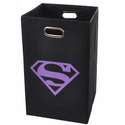 Superman Logo Purple Black Folding Laundry Basket