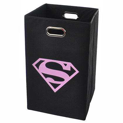 Superman Logo Pink Black Folding Laundry Basket