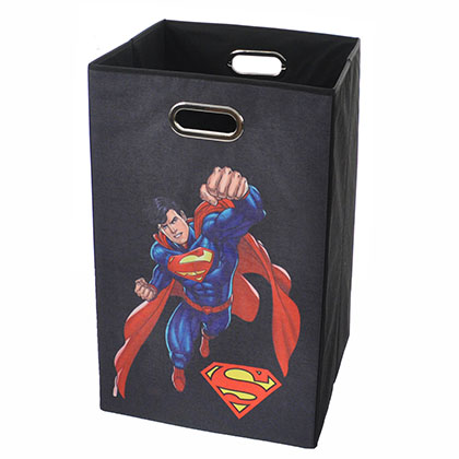 Superman Flying Black Folding Laundry Basket