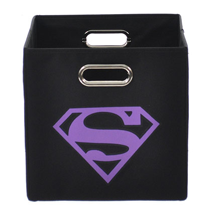 Superman Logo Purple Black Folding Storage Bin