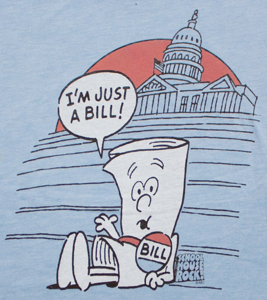 Schoolhouse Rock Just A Bill Blue Juniors Graphic Tshirt
