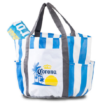 Corona Striped Beach Tote Bag