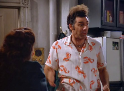Seinfeld Cosmo Kramer Lobster Cabana Vacation Button Down