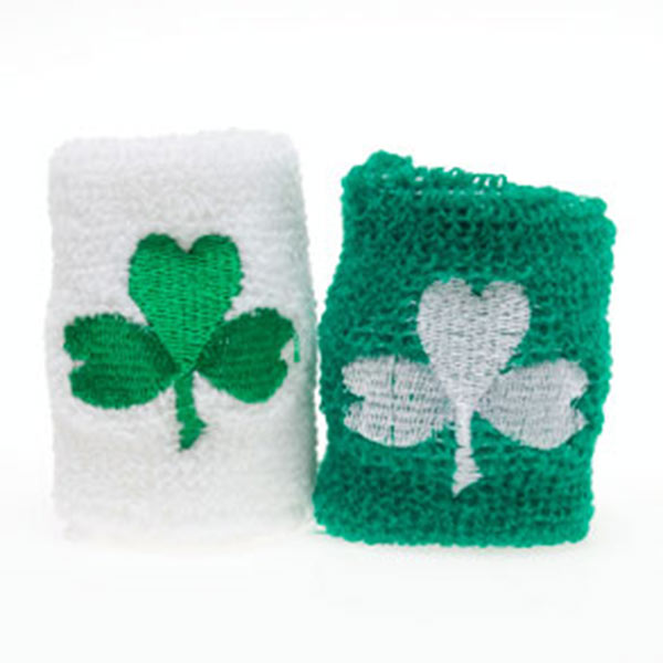 St. Patrick's Day Terry Shamrock Green White Wrist Band