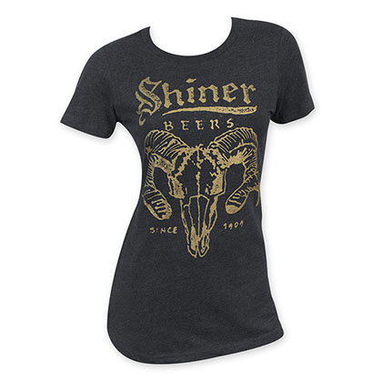 Shiner Beer Women's Black Ram Skull T-Shirt