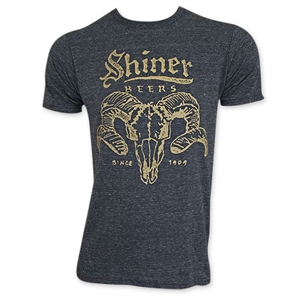 Shiner Beer Men's Black Ram Skull Tee Shirt