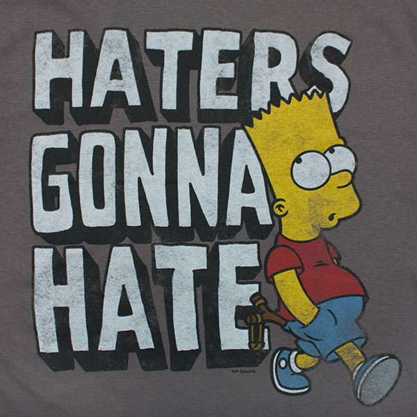 The Simpsons Bart Haters Gonna Hate Tee - Grey