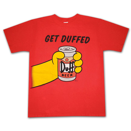 The Simpsons Duff Beer Get Duffed Red Graphic Tee Shirt