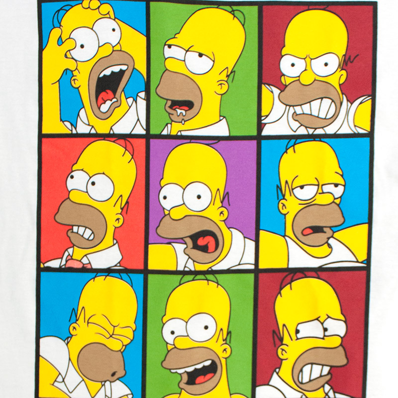 The Simpsons Men's Homer Faces White Tee Shirt