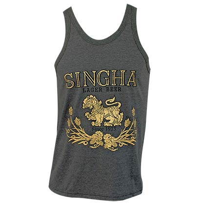 Singha Beer Lion Logo Gray Tank Top