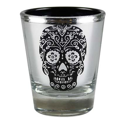 Day Of The Head Metallic Skull Shot Glass
