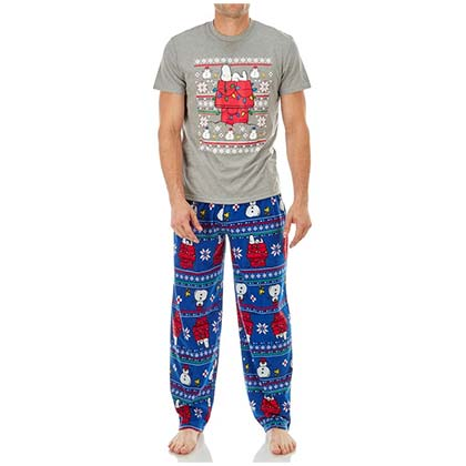 Snoopy Grey And Blue Tee Shirt And Lounge Pant Set