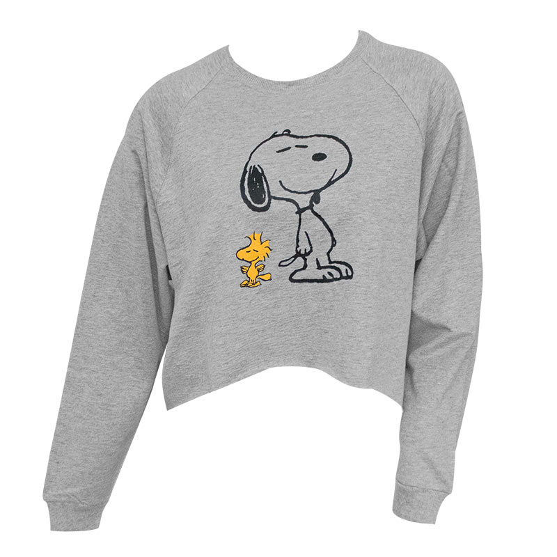 6f4b7677e1c066 Peanuts Snoopy And Woodstock Women's High-Low Cropped Grey Sweatshirt