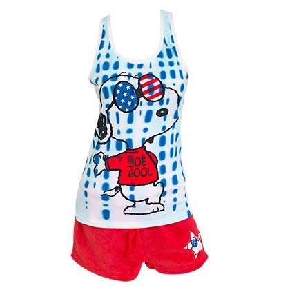 Snoopy America Women's Tank Top And Shorts Pajamas Set