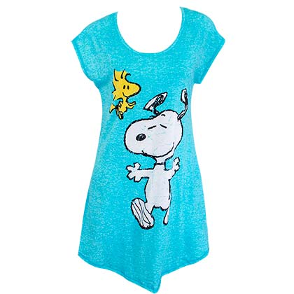 Snoopy And Woodstock Blue Ladies Night Shirt