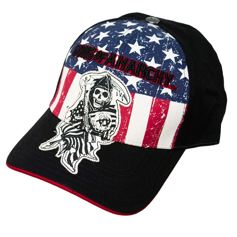 Sons Of Anarchy Distressed American Flag Flex Fit Hat