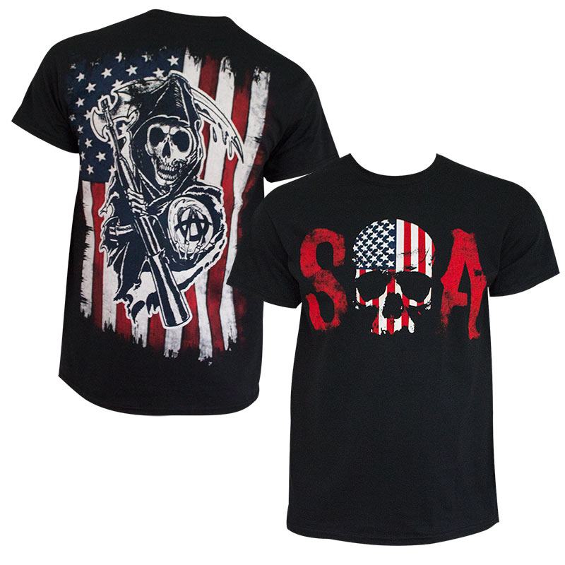 sons of anarchy men 39 s black american flag t shirt. Black Bedroom Furniture Sets. Home Design Ideas