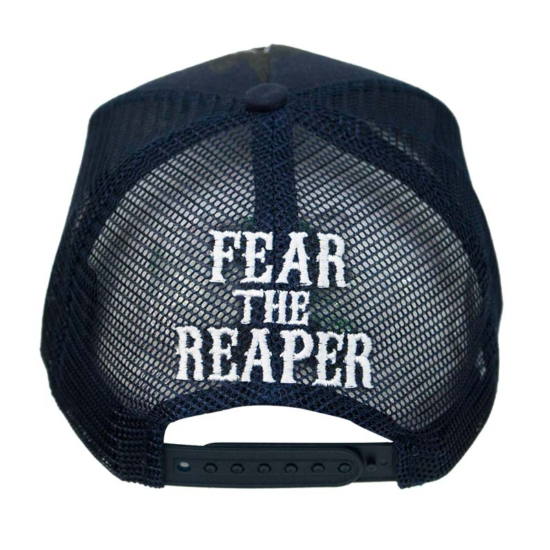 9d8551f7 Sons Of Anarchy Navy Blue Fear The Reaper Mesh Trucker Hat |  TVMovieDepot.com