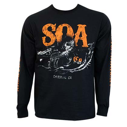 Sons Of Anarchy Charging Reaper Long Sleeve Black Shirt
