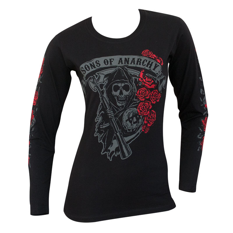 item was added to your cart. Item. Price. Sons Of Anarchy Women s Black  Reaper Rose Long Sleeve Shirt 5403e55554